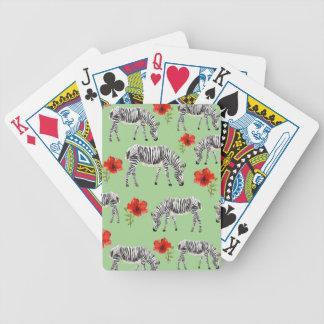 Zèbres parmi des fleurs de ketmie jeux de cartes