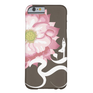 Zen blanc de symbole de l'OM de Lotus de yoga rose Coque iPhone 6 Barely There