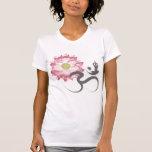 Zen blanc de symbole de l'OM de Lotus de yoga rose T-shirt