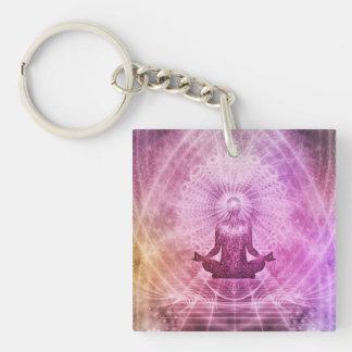 Zen spirituel de méditation de yoga coloré porte-clé carré en acrylique une face