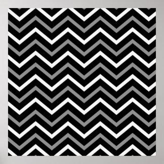Zigzag blanc et gris noir moderne de motif de poster