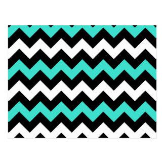 Zigzag blanc noir de turquoise carte postale