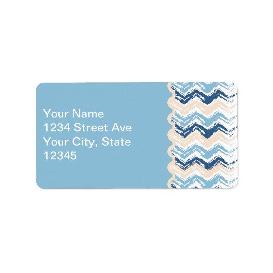 Zigzag de griffonnage de bord de la mer étiquette d'adresse