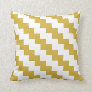 Zigzag moderne dans la moutarde et le blanc coussins carrés
