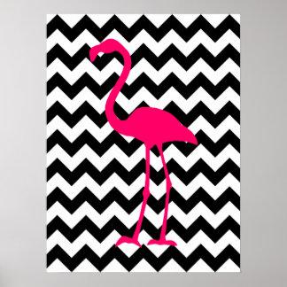 Zigzag noir et blanc de flamant rose lumineux posters