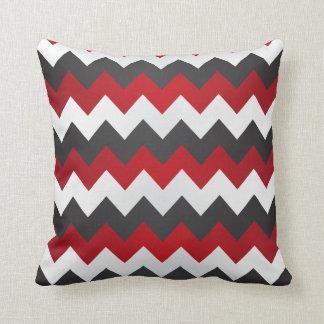 Zigzag rouge foncé, gris et blanc de Chevron Coussin