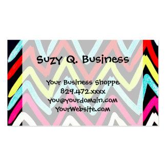 Zigzag tribal peint coloré de Chevron d'amusement Carte De Visite Standard