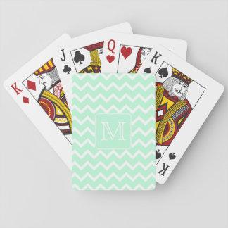 Zigzag vert en bon état avec le monogramme fait cartes à jouer