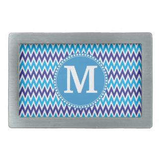 Zigzags bleus turquoises personnalisés de Chevron Boucles De Ceinture Rectangulaires