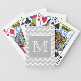 Zigzags gris et blancs avec le monogramme fait sur cartes à jouer