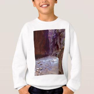 Zion rétrécit le randonnée par la rivière dans le sweatshirt