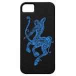 Zodiaque bleu complexe de Sagittaire sur le noir Étuis iPhone 5