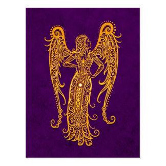 Zodiaque jaune complexe de Vierge sur le pourpre Carte Postale