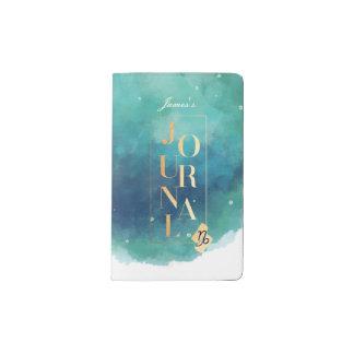 Zodiaque Teal de Capricorne et journal de couleur