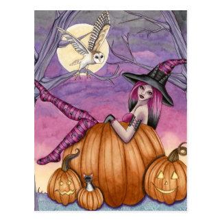 Zoe - carte postale de sorcière de citrouille