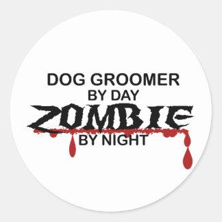 Zombi de Groomer de chien Sticker Rond
