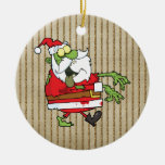 Zombi de Père Noël Ornement Rond En Céramique
