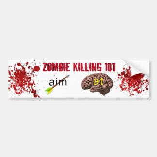 Zombi tuant 101 (flèche de but au cerveau) autocollant de voiture
