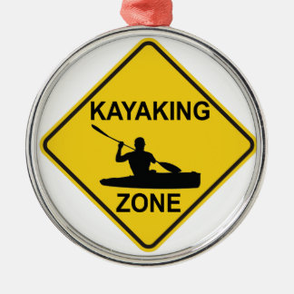 Zone Kayaking Ornement Rond Argenté