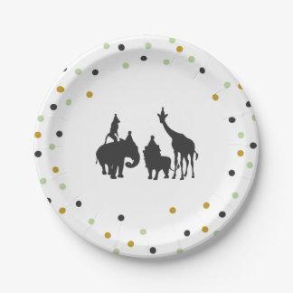 Zoo de safari de plaques à papier d'anniversaire assiettes en papier